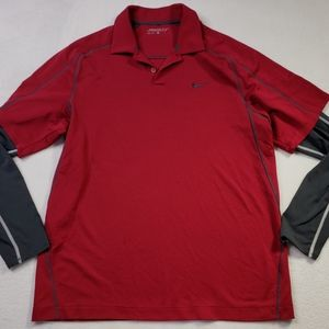 Nike Golf Mens Dri-Fit Under Sleeve Red Polo Large